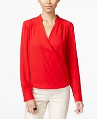 Inc International Concepts Surplice Blouse Only At Macy's Real Red