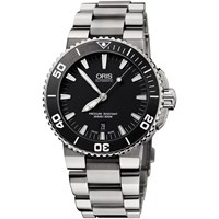 Oris 01 733 7653 4154 07 8 26 01Peb Men's Aquis Date Bracelet Strap Watch Silver Black