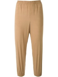 Scanlan Theodore Foulard Print Cuffed Pants Brown