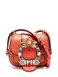 Miu Miu Dalia Embellished Leather Cross Body Bag Coral