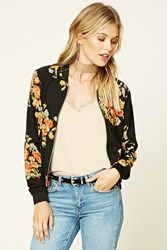 Forever 21 Contemporary Floral Bomber Black Coral