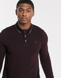 Burton Menswear Long Sleeve Polo In Burgundy Red