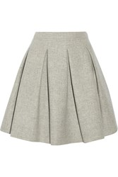 Miu Miu Pleated Wool Mini Skirt Gray