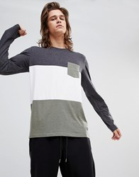 Your Turn Yourturn Long Sleeve Top With Colour Block In Grey And White White Black Melange Green