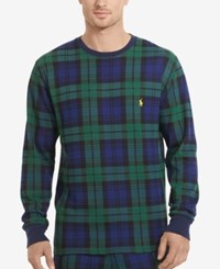 Polo Ralph Lauren Men's Big And Tall Plaid Waffle Knit Crew Neck Thermal Top Blackwatch Plaid