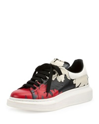 Alexander Mcqueen Leather Leaf Pattern Low Top Sneaker Multi Colors