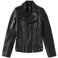Balmain Classic Leather Biker Jacket Black