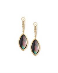 Frederic Sage Luna 18K Gold And Black Mother Of Pearl Marquis Drop Earrings