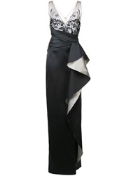 Marchesa Notte Oversized Ruffle Gown Black