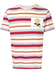 Kent And Curwen Rose Patch Striped T Shirt White