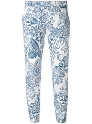 Fay Printed Trousers Women Cotton 46 Blue