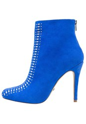Buffalo High Heeled Ankle Boots Navy Blue