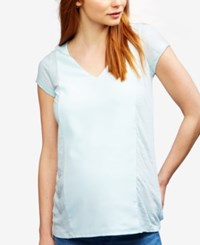 A Pea In The Pod Maternity Linen V Neck Top Iced Turquoise