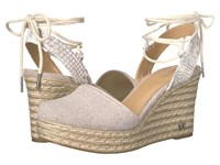Michael Michael Kors Margie Closed Toe Wedge Natural Buffed Embossed Python Hemp Women's Shoes Pink