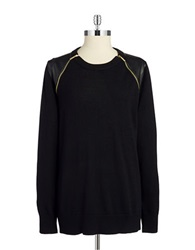 Michael Michael Kors Leatherette And Zipper Accented Sweater Black Gold