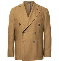 Rubinacci Brown Double Breasted Linen Suit Jacket Brown