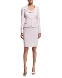 Albert Nipon Seersucker Jacket And Dress Set Pink Blush White