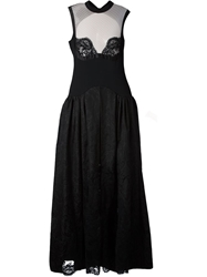 Alessandra Rich Lace Inserts Flared Long Dress Black
