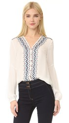 Veronica Beard Dream V Neck Embroidered Blouse White