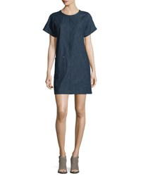 Rag And Bone Ryder Short Sleeve Chambray Shift Dress Indigo