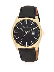 English Laundry Goldtone Stainless Steel Black Leather Strap Watch Black Gold