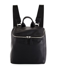 Neiman Marcus Hip Zip Top Faux Leather Backpack Black