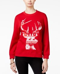 Guess Roya Reindeer Graphic Sweater Varsity Red