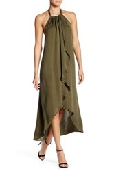 Ella Moss Ruffle Halter Hi Lo Dress Green
