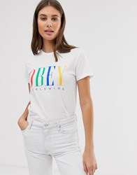 Obey Relaxed T Shirt With Front Logo In Rainbow White