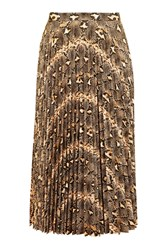 Topshop Snake Print Pu Pleated Skirt Brown