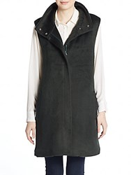 Theory Visterna Faux Fur Vest Holly Green