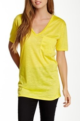 Go Couture Chest Pocket V Neck Tee Yellow