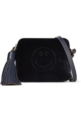 Anya Hindmarch Smiley Leather Trimmed Perforated Velvet Shoulder Bag Midnight Blue