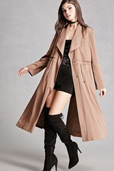 Forever 21 Drawstring Trench Coat Taupe