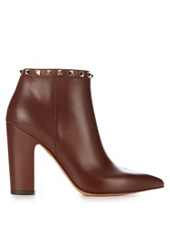 Valentino Rockstud Leather Ankle Boots Brown
