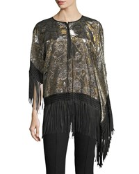 Andrew Gn Fringed Lame Tunic Blouse Gold