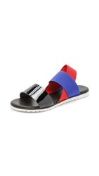 Studio Pollini Sling Flat Sandals Black Klein Blue Red