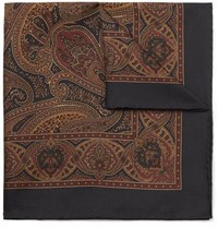 Kingsman Paisley Print Silk Twill Pocket Square Navy