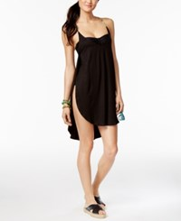 Lucky Brand Coastal Palms High Low Cover Up Women's Swimsuit Black