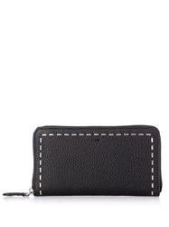 Fendi Selleria Stitch Embellished Leather Wallet Black Multi