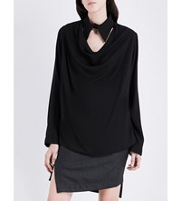 Anglomania Tondo Draped Woven Top Black