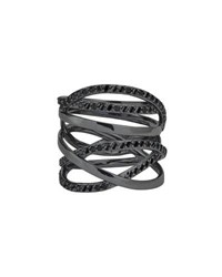 Lana Reckless 14K Black Gold Multi Row Band Ring With Black Diamonds Size 7 Black Gold