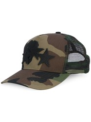 Amiri Camouflage Star Cap Men Cotton Leather Polyester Tencel One Size Green
