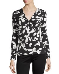 Laundry By Shelli Segal Long Sleeve Gathered Printed Knit Top Black