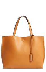 Street Level Reversible Faux Leather Tote And Wristlet Yellow Mustard