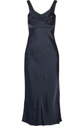 Helmut Lang Lace Trimmed Satin Midi Dress Midnight Blue