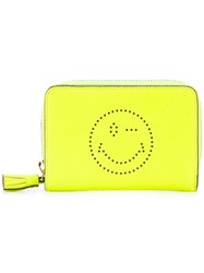 Anya Hindmarch Smiley Zip Around Wallet Yellow Orange