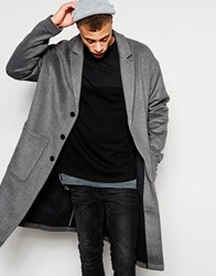 Asos Overcoat With Drop Shoulders In Wool Jersey Grey