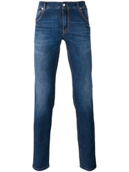 Ermanno Scervino Stonewashed Slim Fit Jeans Men Cotton Elastodiene 50 Blue