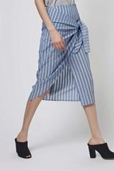 Stripe Tie Front Skirt By Boutique Pale Blue